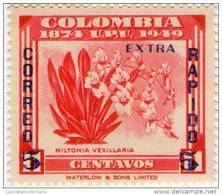 Lote 43o, Colombia, 1953, Orquidea Miltonia Vexillaria , Orchid, Overprint - Colombia