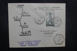 ALGÉRIE - Enveloppe 1er Vol Alger / Tamanrasset Avec Escales En 1952, Affranchissement Plaisant - L 40487 - Argelia (1924-1962)