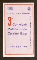 Motociclismo - Brochure 3° Convegno Motociclistico Casalese - Marzo 1938 Casale - Otros