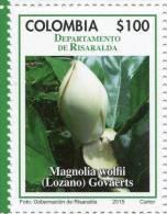 Lote 2015-8.4, Colombia, 2015, Departamento De Risaralda, Stamp, Sello, Flower, Magnolia Wolfii (Lozano) Govaerts, Flor - Colombia