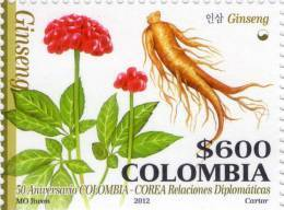 Lote 9q, Colombia, 2012, Ginseng Stamp, Sello, Corea, Korea - Colombia