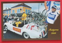 """Cyclisme : Départ Du Tour De France  2003 Devant Le Café  """"Au Réveil Matin"""" à Montgeron, Avec Peugeot 203 Décapotable - Montgeron"""