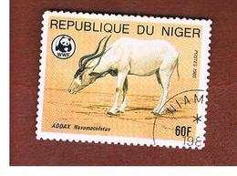 NIGER  -  SG 1039  -  1985 WWF: ENDANGERED ANIMALS (ADDAX)  -  USED * - Niger (1960-...)