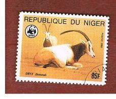 NIGER  -  SG 1040  -  1985 WWF: ENDANGERED ANIMALS (ORYX DAMMAH)  -  USED * - Niger (1960-...)