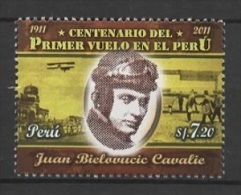 Peru (2011) Yv. 1979  /  Aircraft - Airship - Airplane - First Flight - Primer Vuelo - Juan Bielovucic Cavalie - Aviones