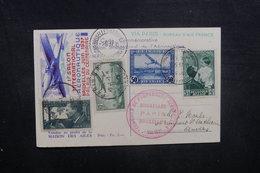 BELGIQUE - Carte Postale Du Vol Bruxelles / Paris / Bruxelles En 1937, Affranchissements Plaisants - L 40493 - Cartas