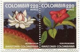 Lote 26ia, Colombia, 1993, Sello, Stamp, 2v, Amazonia Colombiana, Flora, Victoria Regia, Ipecacuana - Colombia