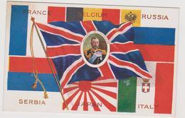 Gli Alleati Nella I° Guerra Mondiale Con Le Loro Bandiere - F.p. - Anni '1915-18 - Patriottiche