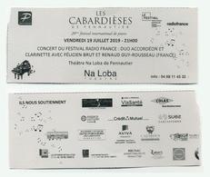 Ticket De Concert : Duo Félicien Brut (accordéon) Et Renaud Guy-Rousseau (Clarinette) - Cabardièses De Pennautier 2019 - Concert Tickets