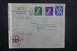 BELGIQUE - Enveloppe Commerciale De Bruxelles Pour New York En 1945 Avec Contrôle Postal - L 40501 - Cartas