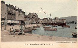 83 LA SEYNE VUE DU PORT ANIMEE LA FONTAINE ENFANTS BATEAUX CARTE COLORISEE - La Seyne-sur-Mer