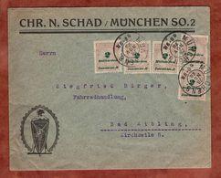 Illustrierter Umschlag Schad Muenchen, Korbdeckelmuster, Nach Bad Aibling An Fahrradhandlung Buerger 1923 (78101) - Germania