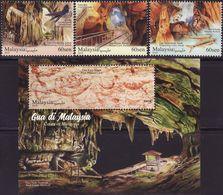 Malaysia 2019-11 Caves Set+M/S MNH Fauna Bird Fish Rock Limestone Mineral Painting Archeology Unusual (die Cut) Cave - Malaysia (1964-...)
