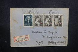 BELGIQUE - Enveloppe En Recommandé De Ixelles Pour La France En 1944 Avec Contrôle , Affranchissement Plaisant - L 40514 - Cartas