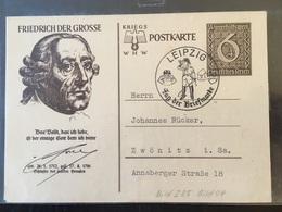 Entier Postal Tag Der Briefmarke Leipzig 1940 Friedrich Der Grosse Postkarte WHW Frédéric Le Grand - Germania