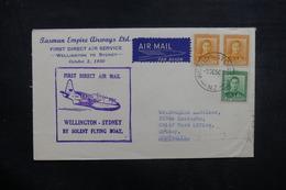 NOUVELLE ZÉLANDE - Enveloppe 1er Vol Wellington / Sydney En 1950 , Affranchissement Plaisant - L 40517 - Briefe U. Dokumente
