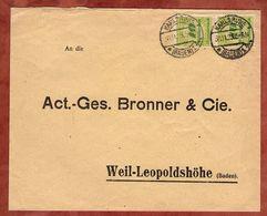 Antwortumschlag Bronner Weil-Leopoldshoehe, Korbdeckelmuster, Ab Karlsruhe 1923 (78105) - Germania