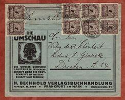 Illustrierter Umschlag Umschau Frankfurt, Korbdeckelmuster, Nach Dresden 1923 (78107) - Germania