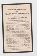 DOODSPRENTJE VERMANDER CHARLES WEDUWNAAR VANDAMME LO - Devotieprenten
