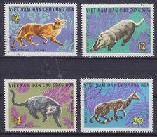 Vietnam 1967 Mi. 475-78 Wildtiere Rotwolf Schweindachs Binturong Asiatische Zibetkatze - Vietnam