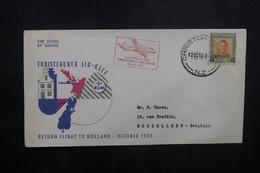 NOUVELLE ZÉLANDE - Enveloppe Par Vol Spécial Christchurch / Amsterdam En 1953, Affranchissement Plaisant - L 40534 - Briefe U. Dokumente