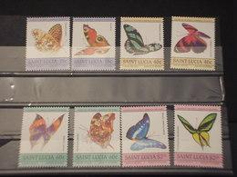 ST. LUCIA - 1985 FARFALLE 8 VALORI -  NUOVI(++) - St.Lucia (1979-...)