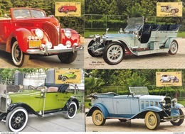 INDIA, 2017, MAX CARDS,Set Of 4,, Means Of TRANSPORT, VINTAGE CARS , Rolls Royce, Austin, Ford, Chevrolet, - India