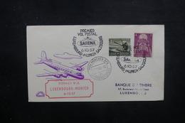 LUXEMBOURG - Enveloppe 1er Vol Luxembourg / Munich En 1957, Affranchissement Plaisant - L 40549 - Luxemburg