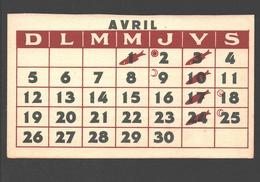 Missions De Scheut - Calendrier Avril / Kalender April - Carte Publicitaire Recrutement Bienfaiteurs - Missions
