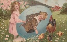 Jolie Carte Postale Ancienne Gauffrée - Joyeuse Pâques - Oeuf - Enfants - Poules - Poussins - Pascua