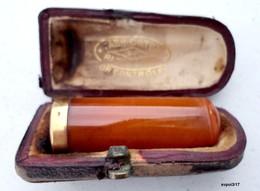"""Ancien Fume-Cigarettes Dans Son étui - Ambre Et Bague Or Contrôlé - """"Fabrication Parisienne"""" - Cigarette Holders"""