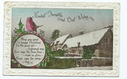 Christmas Postcard Best Kindest Thoughts And Best Wishes Robin Embossed Edge Posted 1930 - Santa Claus