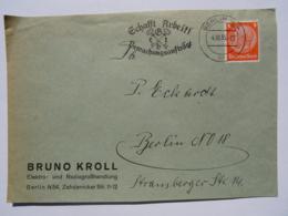 """1935 DR Brief Berlin, Freistempel """"Schafft Arbeit! Gebt Bewachungsaufträge"""" - Germany"""