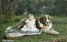 "UNITED KINGDOM - Dogs  Artcard  ""BABYS GARDIAN"" - With Baby Etc - Chiens"