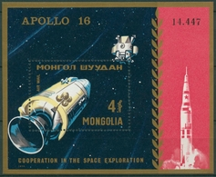 Mongolei 1972 Raumfahrt: Apollo 14 Mutterschiff Block 27 Postfrisch (C6829) - Mongolei