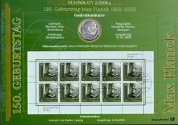 Bund Numisblatt 2008-2 Max Planck 10,00 Euro - [ 7] 1949-…: BRD