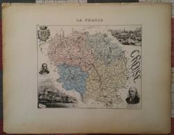 1885 CARTE DU DÉPARTEMENT DE LA CREUSE - GUERET - AUBUSSON - BOURGANEUF - BOUSSAC - Vieux Papiers