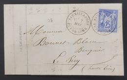 France, 8 Mai 1877 Lettre De Sauxillanges Pour Le Puy, Republique Française - Postmark Collection (Covers)