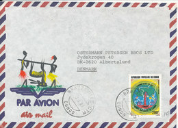 Congo Brazzaville Air Mail Cover Sent To Denmark 2-8-1986 With Nice Cachet MAP On The Single Stamp - Congo - Brazzaville