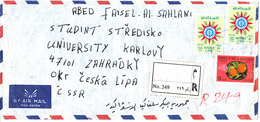 Iraq Registered Air Mail Cover Sent To Czechoslovakia Topic Stamps On Front And Backside Of The Cover - Iraq