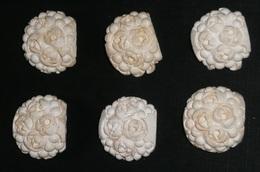 Rare Lot De 6 Anciennes Perles Ou Boutons En écume De Mer, Sculptées En Forme De Fleurs Rose - Perles