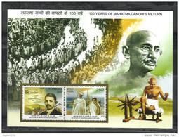 INDIA, 2015, 100 Years Of Mahatma Gandhi Return From South Africa Ship Newspaper, Miniature Sheet, MNH, (**) - India