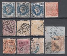 España, 1865 - 1875 Lote De Sellos Españoles Con Matasellos Franceses - Usados