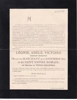 AIX-la-CHAPELLE Léonie Baronne De WENDT-HOLTFELD 80 Ans 1896 Comtesse De MARCHANT D'ANSEMBOURG AMSTENRAEDT - Décès