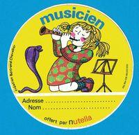 AUTOCOLLANT CREATION BERTRAND CHEVALIER / MUSICIEN NUTELLA - Stickers