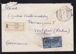 AMB. ROMA-MILANO 157 *C* 25.9.48 Rs Auf R-Brief Ab Rom Nach Wetzlar,  - Timbres