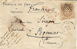 1871- Enveloppe De ZARAGOZA  Affr.  Y & T   N°106   Pour La France - 1870-72 Regencia