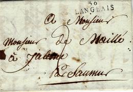 1807 -lettre De  36 / LANGEAIS ( I. Et L. )  32 X 9 Mm Noir  Pour  Saumur - Marcophilie (Lettres)