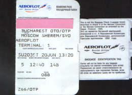 Russian Airlines Aeroflot Boarding Pass - Bucharest Otopeni To Moscow Sheremetievo  - 2/scans - Instapkaart