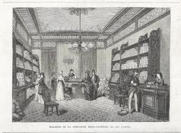 GRAVURE De 1872...PARIS. MAGASINS De La COMPAGNIE MOKA-ZANZIBAR, 47, Rue Vivienne - Estampes & Gravures